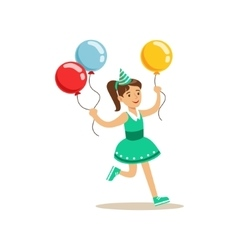 Girl Running With Three Multicolor Party Balloons vector image vector image
