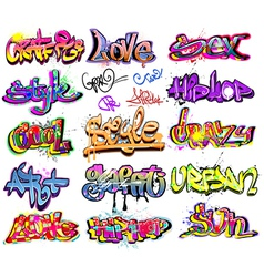 Graffiti urban art set vector image vector image