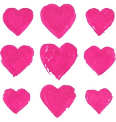 Pink acrylic color painted hearts set vector image vector image