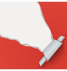 Red background with torn paper from the corner vector image
