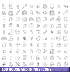 100 house and things icons set outline style vector
