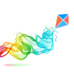 Abstract color background with wave and kite vector image