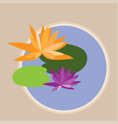 abstract lotus flowers and leaves in pond vector image