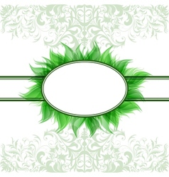 Abstract romantic background with green frame vector image