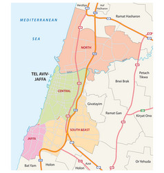 Administrative and road map tel aviv jaffa vector