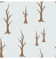 Bare winter trees seamless pattern vector image