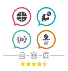 Basketball icons Ball with basket and fireball vector image