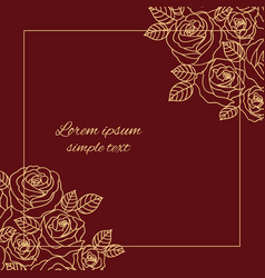 Beige and maroon outline roses decoration vector