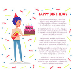 birthday party celebration man festive hat cake vector image