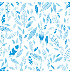 blue and white feathers seamless pattern vector image