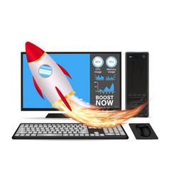 boost speed desktop computer with toy rocket vector image
