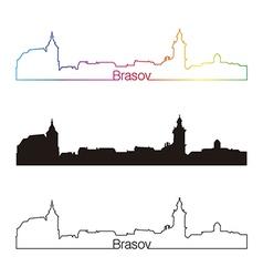 Brasov skyline linear style with rainbow vector