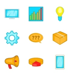 Business strategy marketing finance icons set vector image