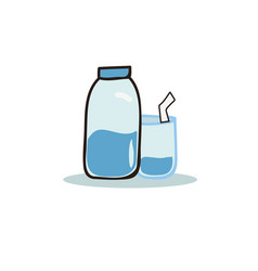 cartoon bottle of water and glasses vector image
