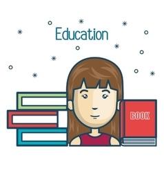 cartoon girl student education books read design vector image