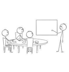 Cartoon of businessman presenting empty table vector