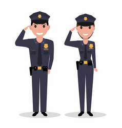 Cartoon policeman and police woman salutes vector