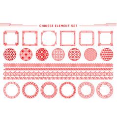 Chinese set border frames patterns vector