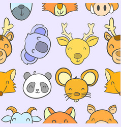 collection stock animal funny doodles vector image