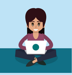Color background of woman sitting working in vector