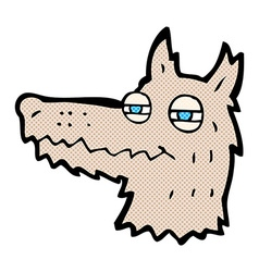 comic cartoon smug wolf face vector image