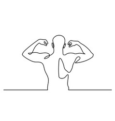 continuous line drawing strong athletic man vector image