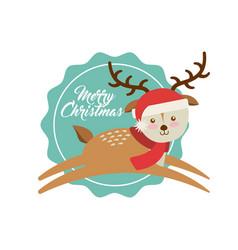 Cute animal christmas celebration card vector