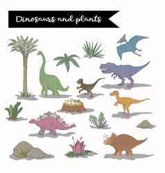dinosaur set isolated vector image