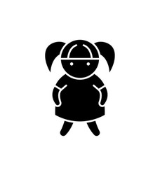 doll black icon sign on isolated vector image