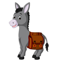 Donkey carries a bag vector
