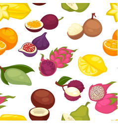 exotic fruits organic food farm products seamless vector image