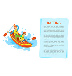 Extreme tourism rubber boat rafting sport vector