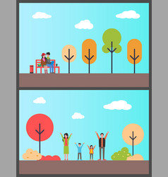 family in autumn park couple freelancers on bench vector image