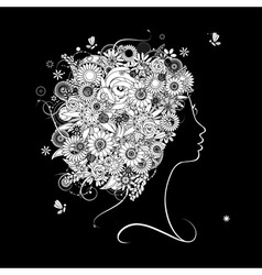 Female profile silhouette floral hairstyle vector image