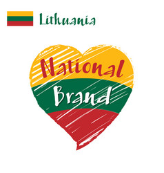 flag heart lithuania national brand vector image