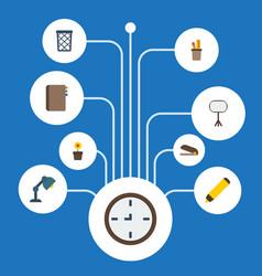 flat icons highlighter pen holder trash basket vector image