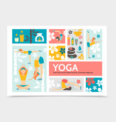 flat yoga and harmony infographic concept vector image