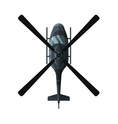 Flying black combat helicopter view from above vector