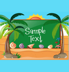 Frame design with beach theme vector