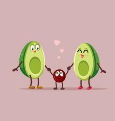 Funny avocado family cartoon vector
