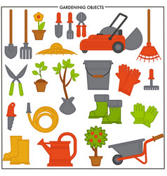 Gardening objects set composed of convenient metal vector