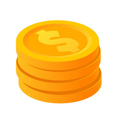 gold stack of dollar coins in isometric style vector image