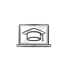 graduation cap on computer screen hand drawn icon vector image