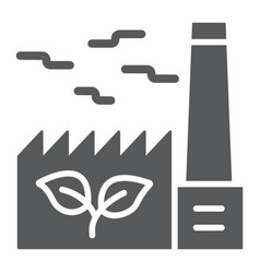 Green factory glyph icon ecology and energy vector