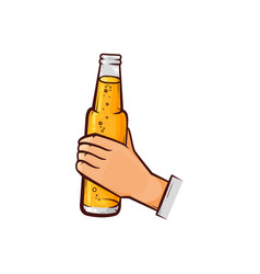 hand-drawn male hand holding opened beer bottle vector image