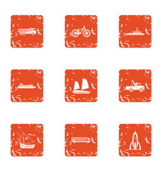 Heavy engineering icons set grunge style vector