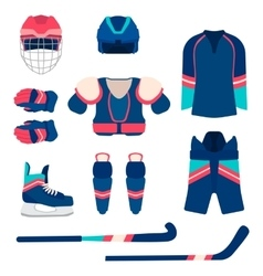 Ice hockey sport equipment set ice hockey vector image