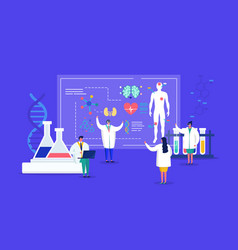 Innovative lab tiny people medics in 3d glasses vector