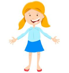 Kid or teen happy girl cartoon character vector