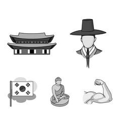 Korean in national headdress korean monastery vector